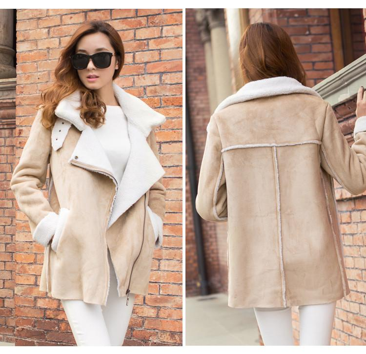 Lapel Faux Suede Warm Short Coat - Meet Yours Fashion - 2