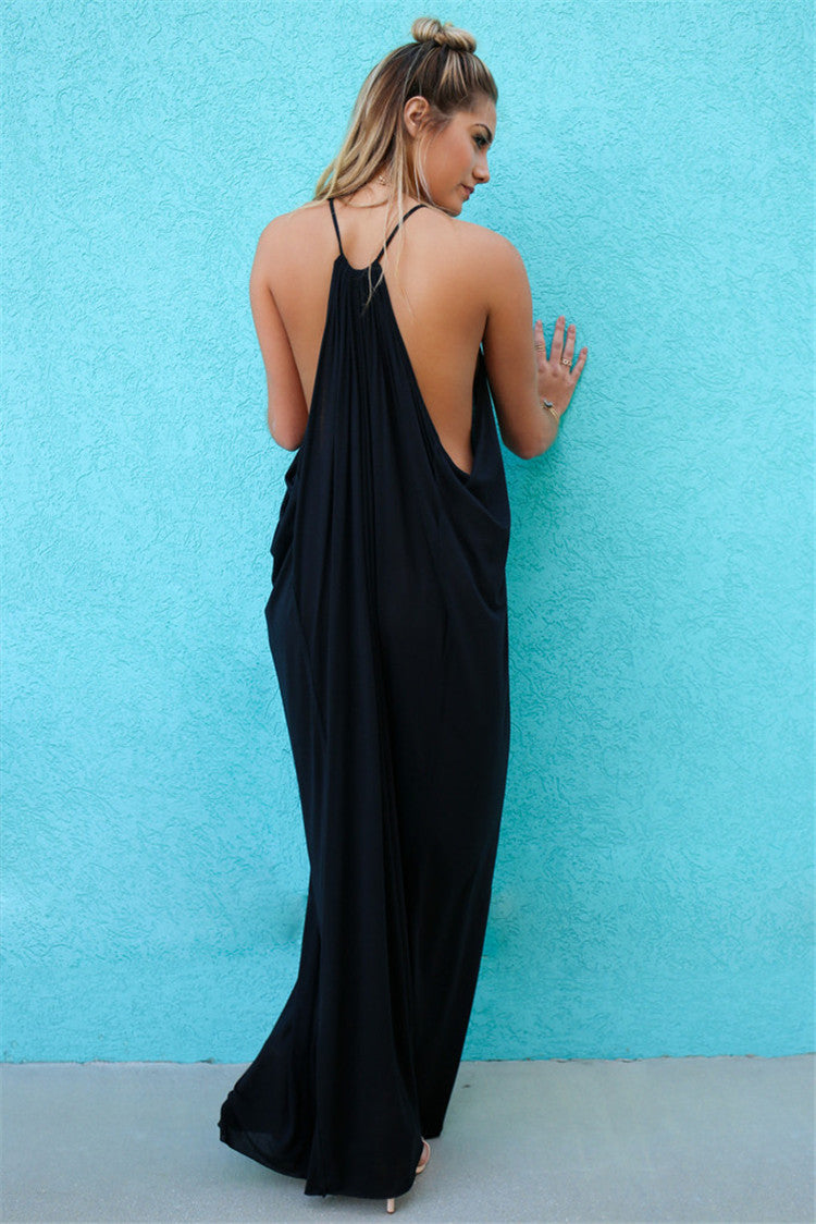 Spaghetti Straps Backless Scoop Long Dress - Oh Yours Fashion - 4
