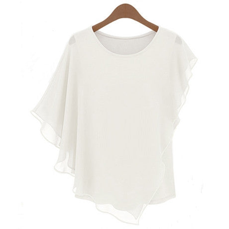 Irregular Scoop Sexy Falbala Chiffon Batwing Blouse - Oh Yours Fashion - 4