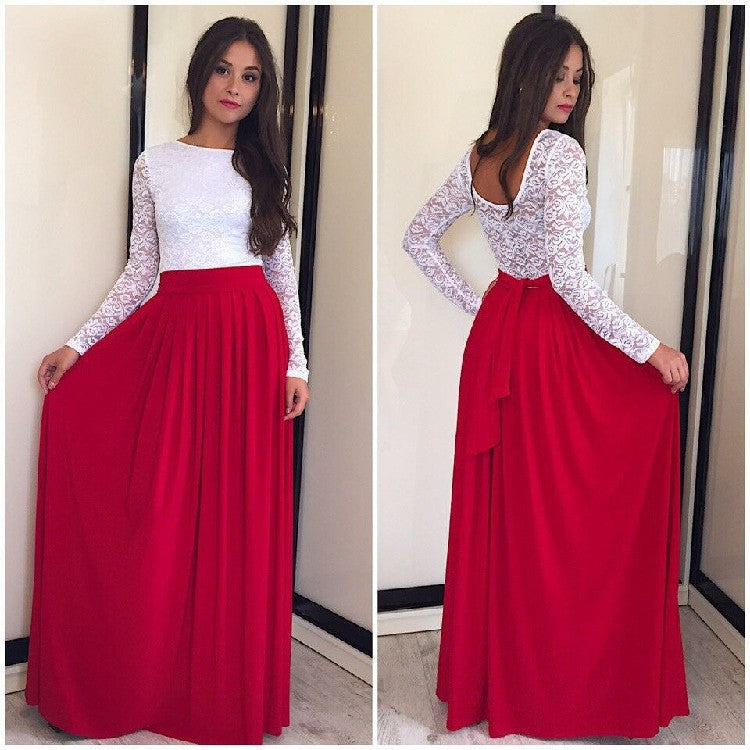 Lace High-waist Long Sleeves Pleated Splicing Long Dress - Oh Yours Fashion - 1