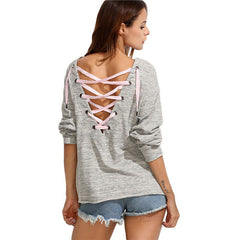 Back Deep V Lace Up Joker Leisure T-Shirt - Oh Yours Fashion - 3