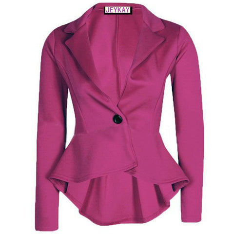 Solid Color Irregular Flounced Women's Blazer