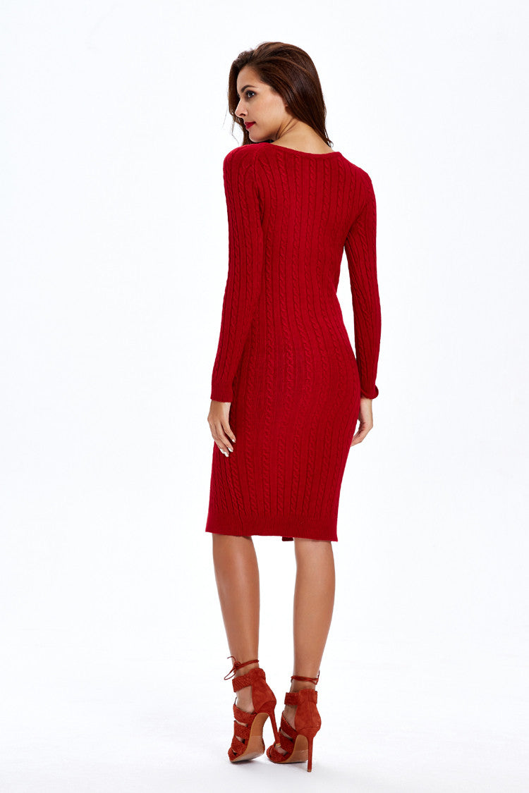 Fashion Slit Slim Twist Knit Long Sweater Dress - Oh Yours Fashion - 8