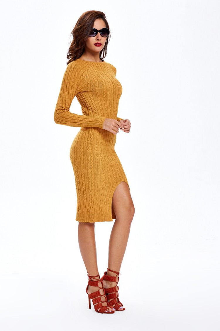 Fashion Slit Slim Twist Knit Long Sweater Dress - Oh Yours Fashion - 3