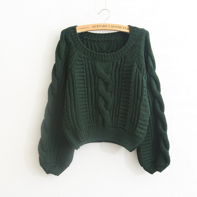 Cable Sleeve Coarse Yam Pure Color Pullover Sweater - Oh Yours Fashion - 3