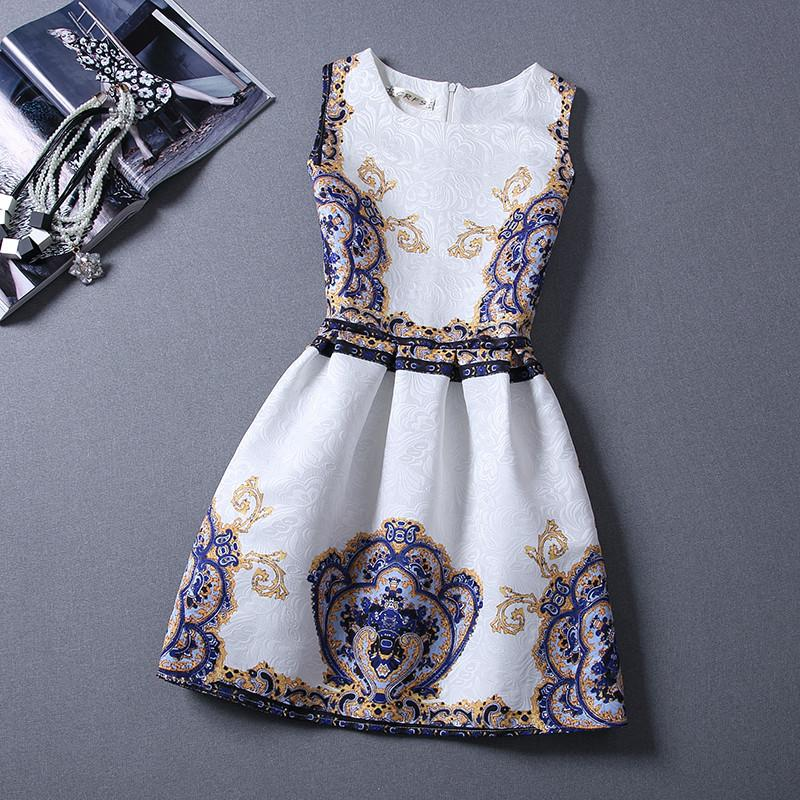 Elegant Vintage Flower Print Sleeveless Mini Tank Dress - MeetYoursFashion - 1