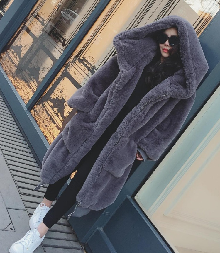 Warm Faux Rabbit Fur Solid Color Women Oversized Hooded Teddy Coat