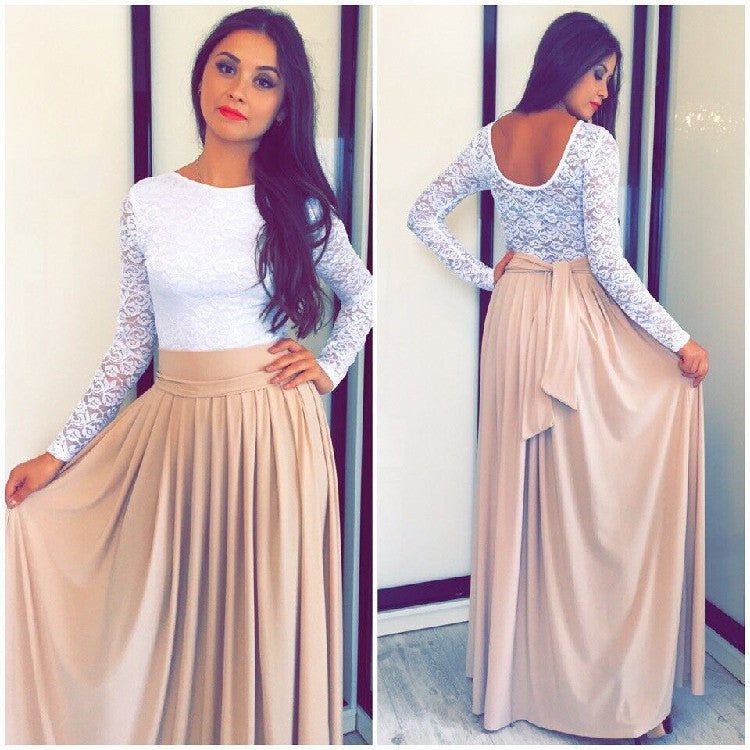 Lace High-waist Long Sleeves Pleated Splicing Long Dress - Oh Yours Fashion - 4