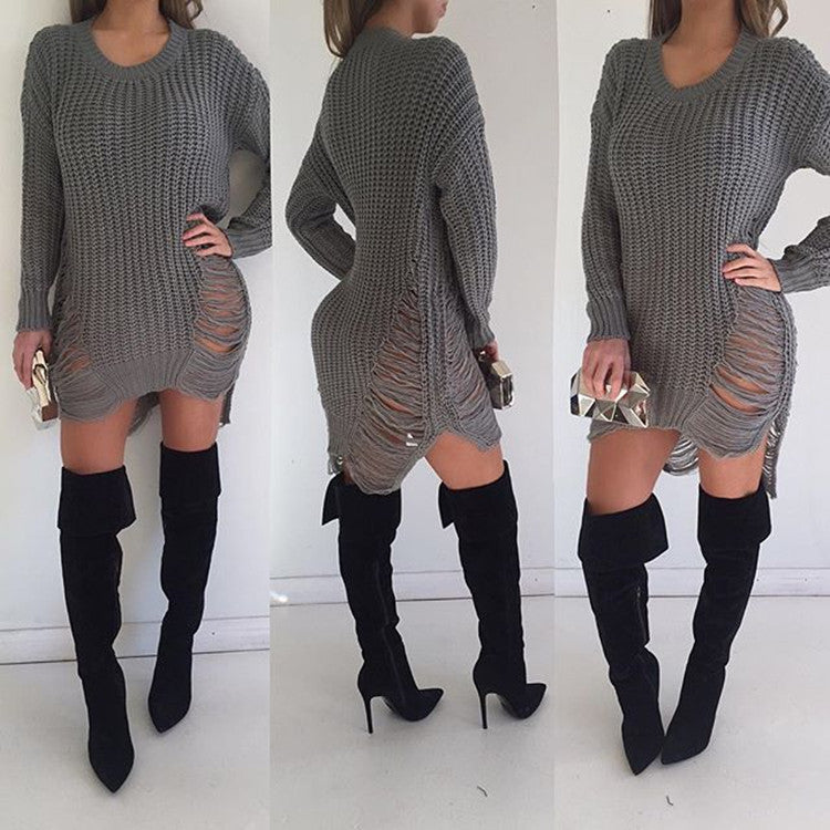 Hollow Out Knitting Irregular Long Sweater Dress - Oh Yours Fashion - 7