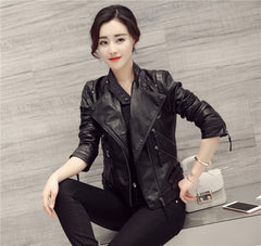 Black Oblique Zipper Slim Stand Collar Crop Jacket - Oh Yours Fashion - 4