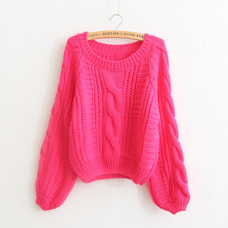 Cable Sleeve Coarse Yam Pure Color Pullover Sweater - Oh Yours Fashion - 4