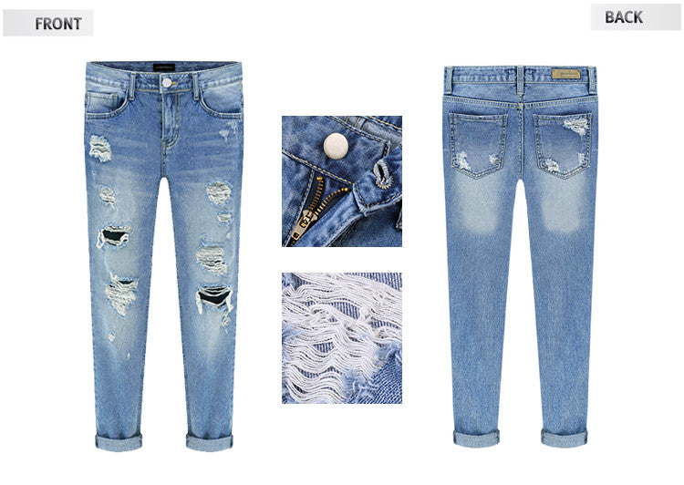 Beggar Style Holes Ripped Frayed Loose Long Jeans - Oh Yours Fashion - 4