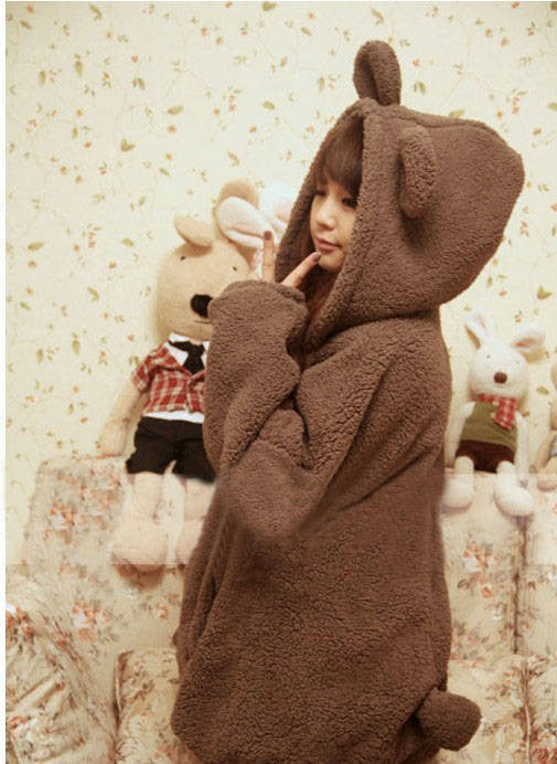 Cartoon Hooded Zipper Solid Bubble Cuff Long Coat - Oh Yours Fashion - 2