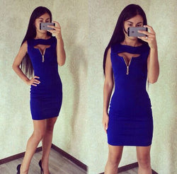 Sleeveless Bodycon Sheath Open Chest Club Short Dress - Oh Yours Fashion - 3