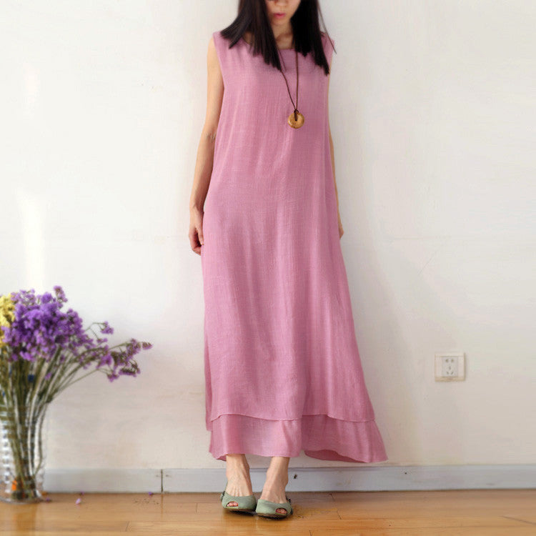 Pure Color Loose O-neck Sleeveless Long Dress - Oh Yours Fashion - 1