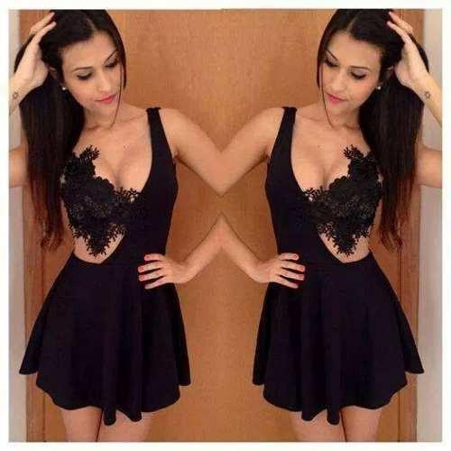 Lace Patchwork V-neck Backless Short Dress - MeetYoursFashion - 4
