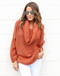 Turtle Neck Knitting Long Sleeves Loose Sweater - Oh Yours Fashion - 1