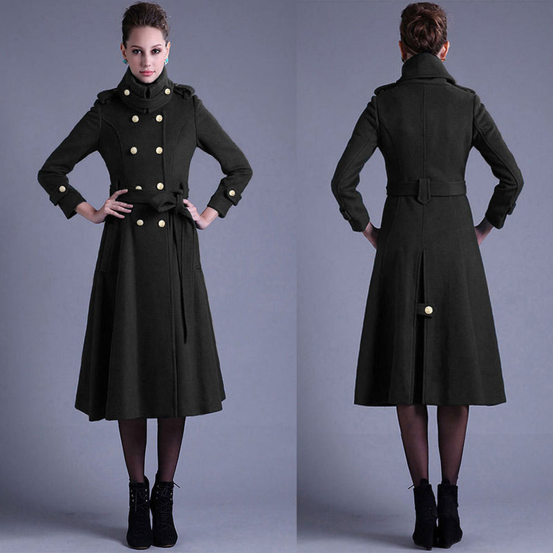 Stand Collar Button Belt Pleated Long Coat - Oh Yours Fashion - 5