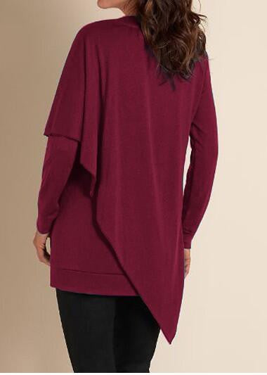 V-neck Pure Color False Two Picture Cloak Blouse - Oh Yours Fashion - 6