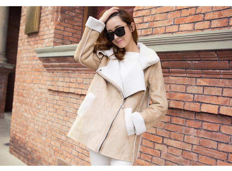 Lapel Faux Suede Warm Short Coat - Meet Yours Fashion - 4