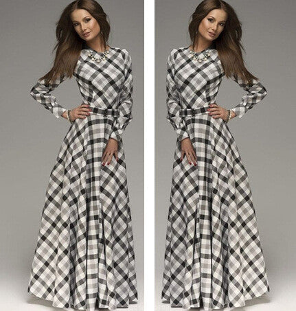 A-line Plaid Long Sleeves Long Party Dress - Oh Yours Fashion - 1