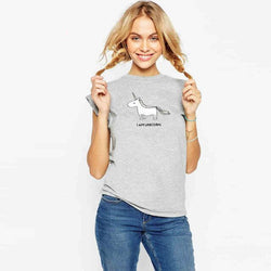 2017 Fashion Unicorn print Scoop Short Sleeves Casual Loose T-shirt