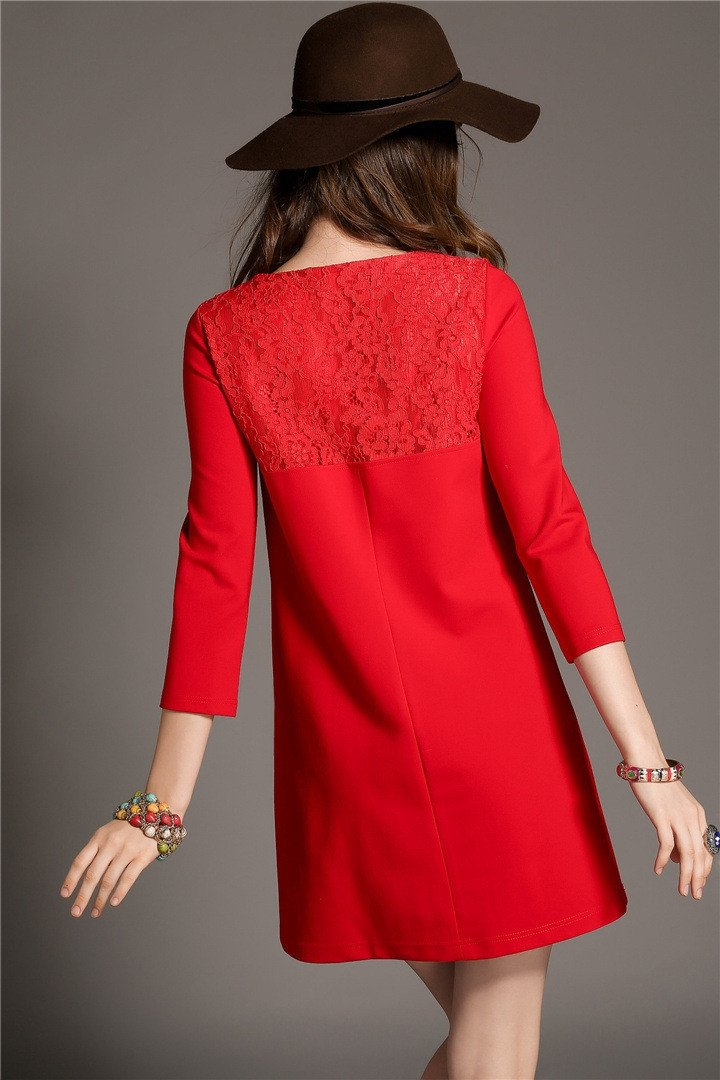 Lace Patchwork 3/4 Sleeves Short Loose Dress - MeetYoursFashion - 4