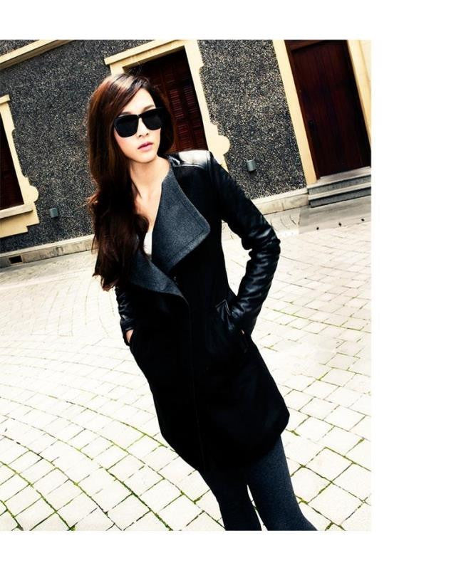 Lapel Casual Patchwork Slim Mid-length Woolen Coat - Oh Yours Fashion - 4