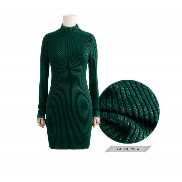 High Neck Bodycon Knitting Sweater Dress - Oh Yours Fashion - 8