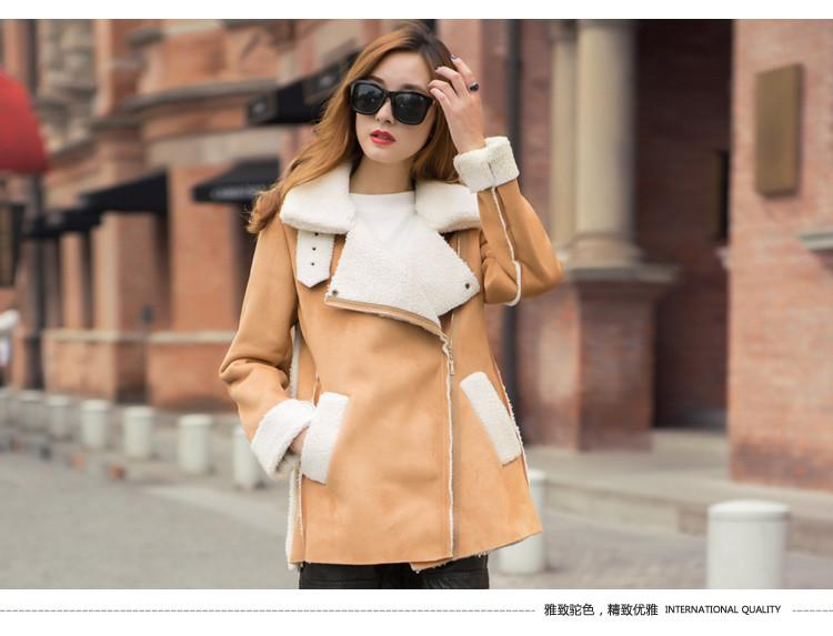 Lapel Faux Suede Warm Short Coat - Meet Yours Fashion - 3