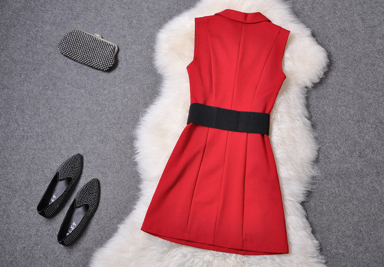 V-neck Sleeveless Mini Tank Dress - Oh Yours Fashion - 3