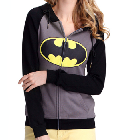 Batman Print Zip Up Women Hoodie - MeetYoursFashion - 1