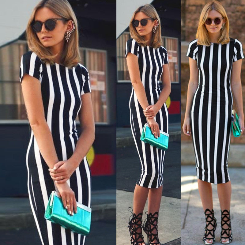 Short Sleeve O-neck Stripe Knee-length Dress - Oh Yours Fashion - 1