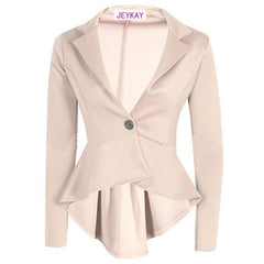 Solid Color Irregular Flounced Women's Blazer - O Yours Fashion - 4