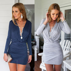 Deep V-neck Ruched Short Bodycon Club Dress - O Yours Fashion - 4