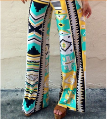 Bohemian Style Print Wide Leg Regular Pants - Oh Yours Fashion - 1