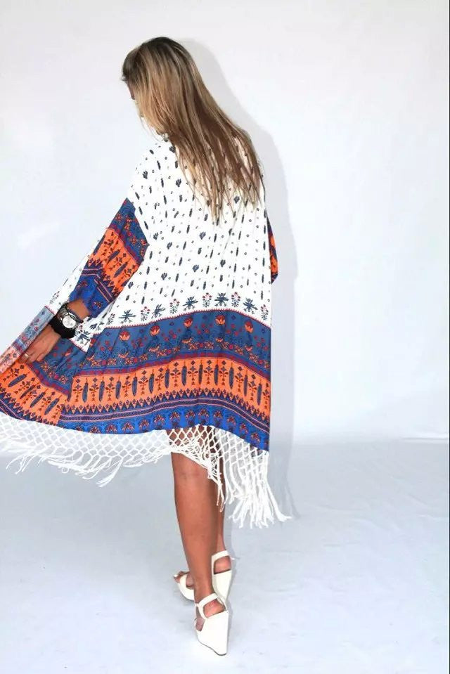 Print Tassels Cardigan Long Sleeves Fashion Sweater - Oh Yours Fashion - 4