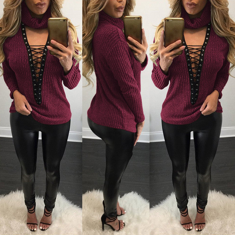 Sexy V Lace Up Turtleneck Sweater - Oh Yours Fashion - 1