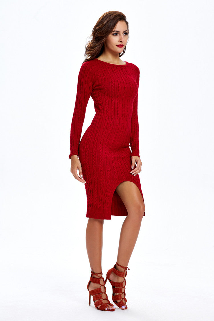 Fashion Slit Slim Twist Knit Long Sweater Dress - Oh Yours Fashion - 5