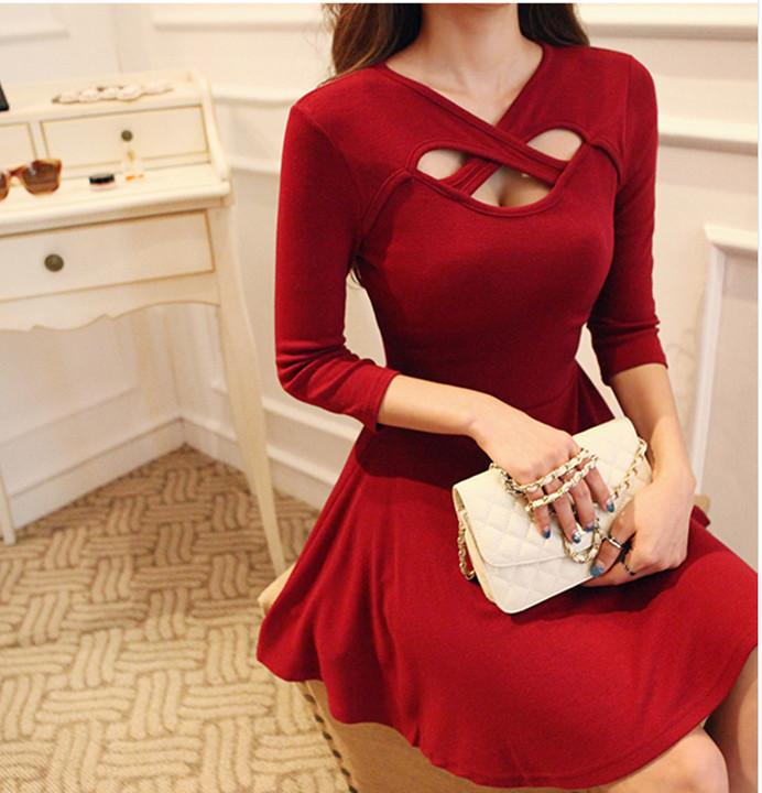 Hollow Out 3/4 Sleeve Bodycon Pleated Dress - MeetYoursFashion - 6