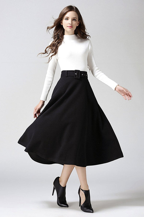Fashion A-line Pure Color Woolen Long Skirt With Belt