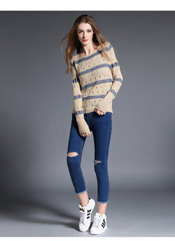 Fashion Stripe Hollow Out Pullovers Knitwear Sweater - Oh Yours Fashion - 4