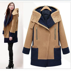 Plus Size Turn Down Color Splicing Long Wool Coat - Meet Yours Fashion - 1