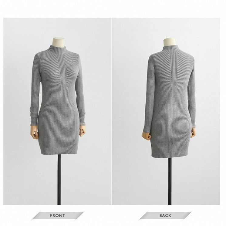 High Neck Bodycon Knitting Sweater Dress - Oh Yours Fashion - 5