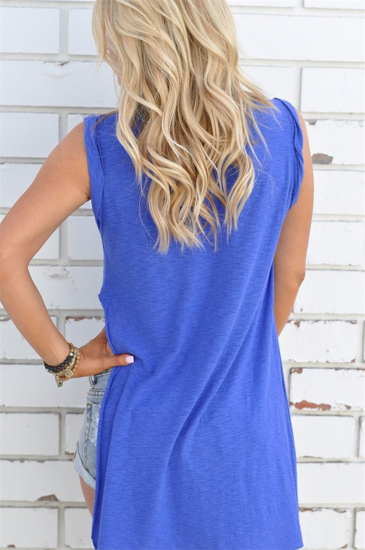 Scoop Sleeveless Split Irregular Pure Color Blouse - Meet Yours Fashion - 4