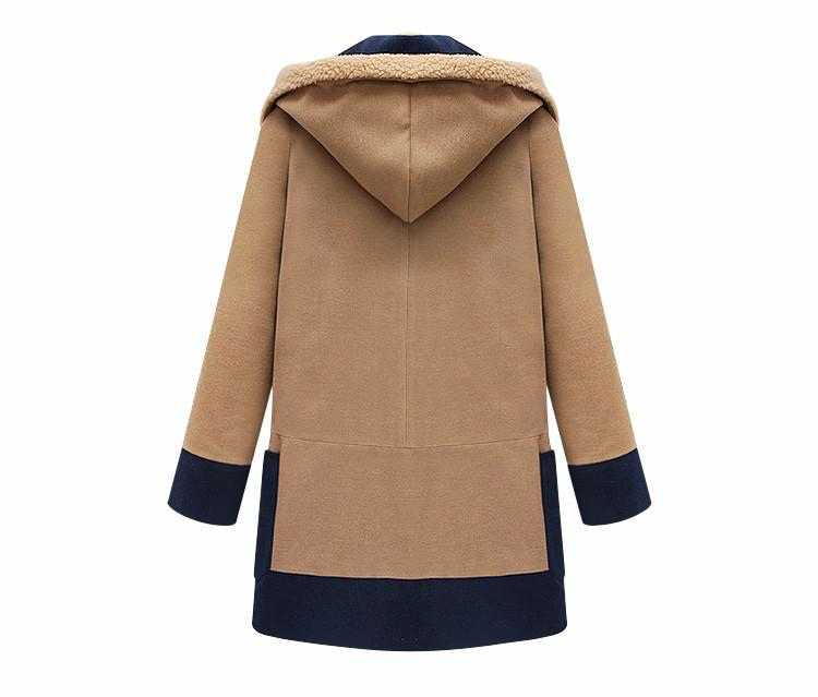 Plus Size Turn Down Color Splicing Long Wool Coat - Meet Yours Fashion - 4