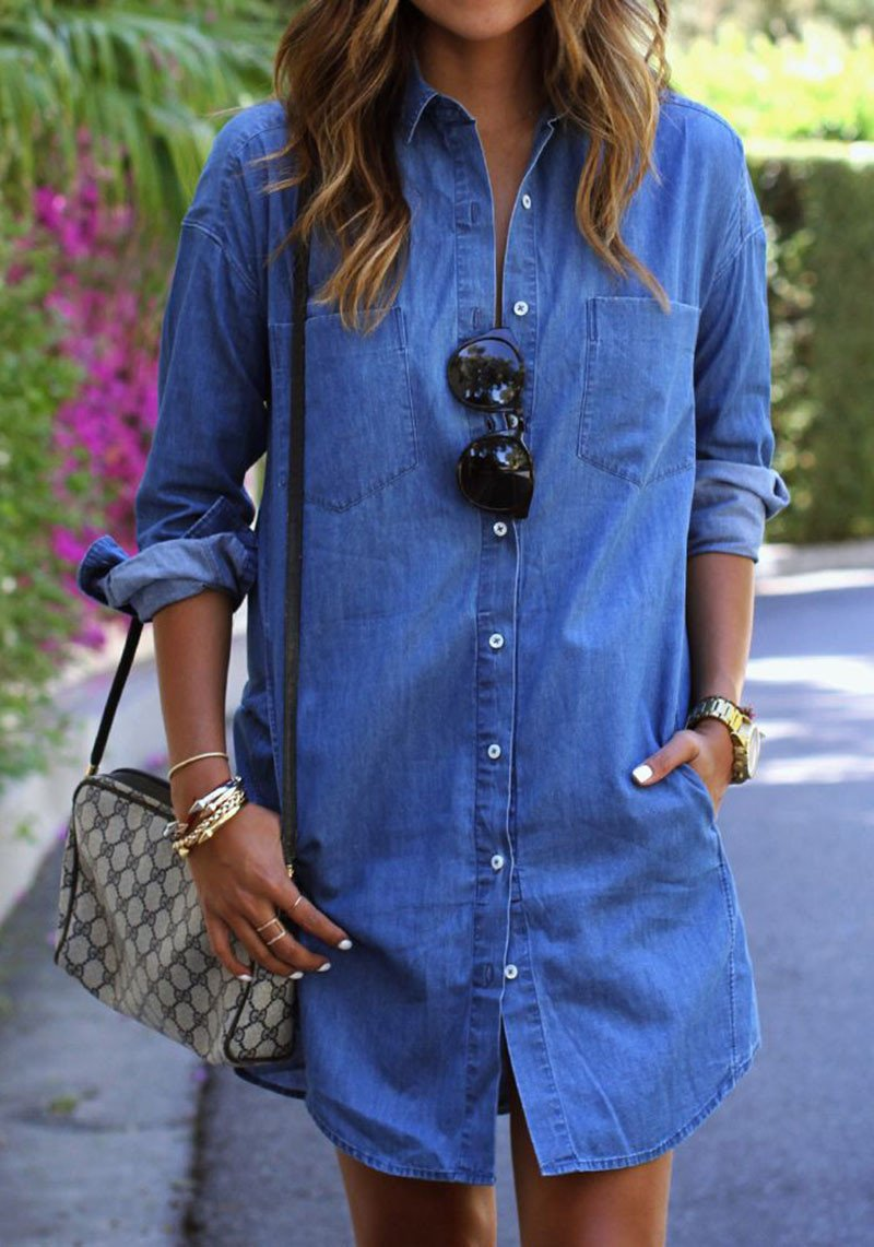 Casual Long Sleeve Loose Long Style Denim Dress - May Your Fashion - 4