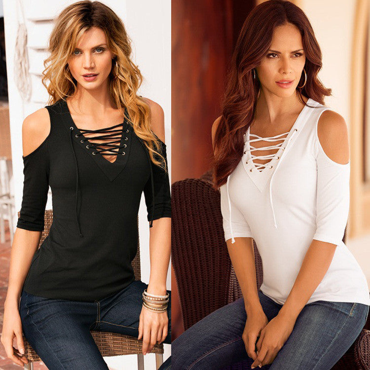 1/2 Sleeves Slim Bandage V-neck Sexy Pure Color Blouse - Oh Yours Fashion - 1