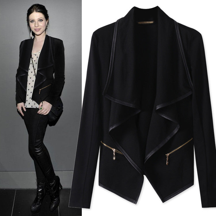 Irregular Long Sleeves Lapel Turn-down Collar Short Coat - Oh Yours Fashion - 2
