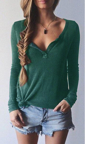Ribbed Knit V-neck Pure Color Long Sleeves Sweater - Oh Yours Fashion - 2